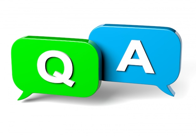 3d rendering of colorful speech bubbles with q&a