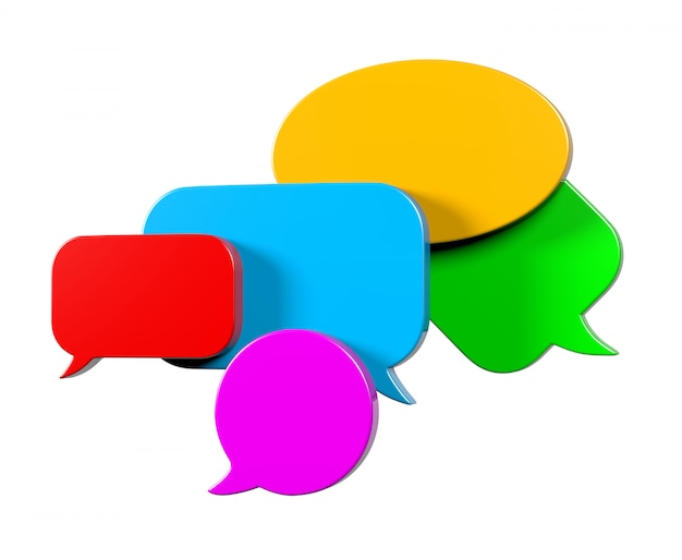 3d rendering of colorful speech bubbles