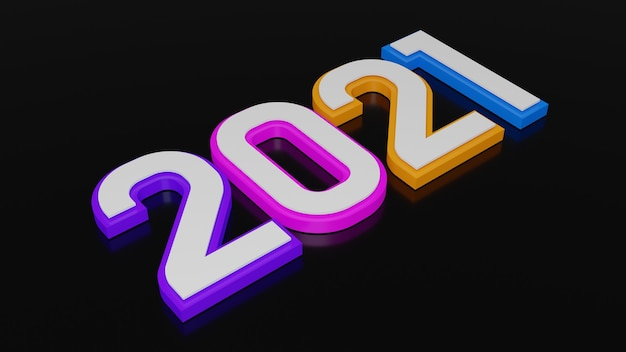 3d rendering of colorful typography of 2021 new year