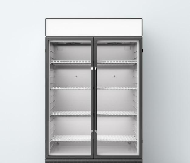 투명한 유리문이 있는 3d 렌더링 상업용 냉장고
