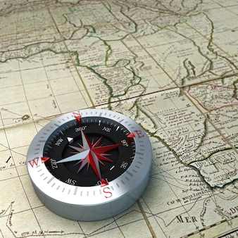 3d rendering of a compass on top of a map