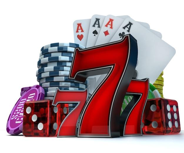 다른 도박 요소와 3d 렌더링 구성