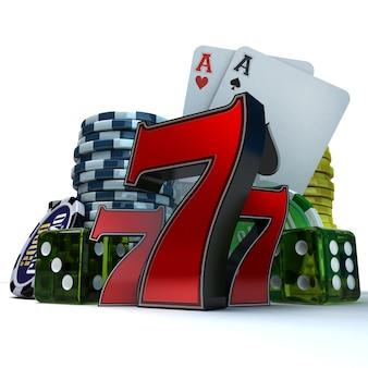 3d-рендеринг композиции с различными элементами азартных игр