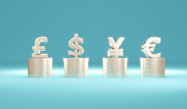 3d rendering concept of fiat currency by coin stacks with currency symbol dollar pound euro yuan on