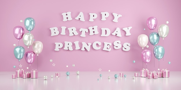 3d rendering  concept of happy birthday princess text on wall with balloons and gifts in pink theme