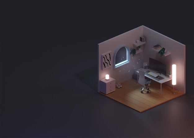 3d rendering concept of isometric room