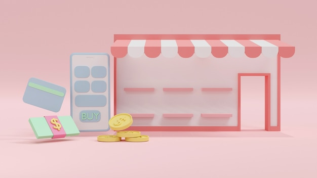 3d rendering concept of mini online shopping store front with blank product shelves with money icon