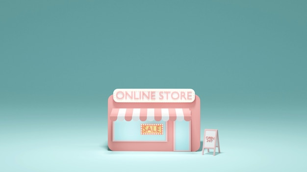 3d rendering concept of mini online shopping store front
