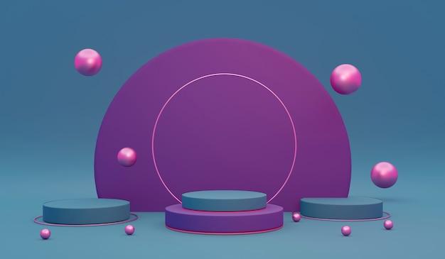 상업용 화장품 고급 디자인을 위한 보라색 및 분홍색 테마의 빈 연단의 3d 렌더링 개념. 3d 렌더링. 3d 그림입니다. 추상 빛 개념입니다.