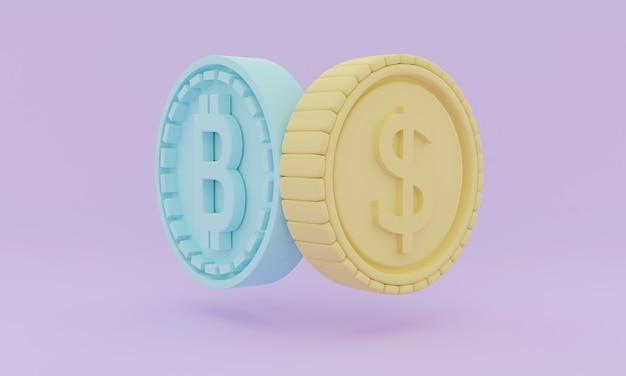 Концепция 3d-рендеринга криптовалюты с биткойн-монетой и фиатной валютой в долларах