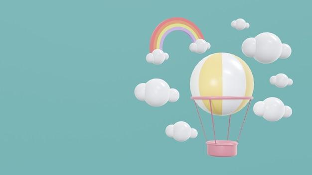 Концепция 3d-рендеринга милого выставочного пространства с воздушными шарами в небе с облаками