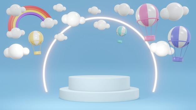 Концепция 3d-рендеринга выставочного подиума с воздушными шарами в небе с радугой и кольцевым светом