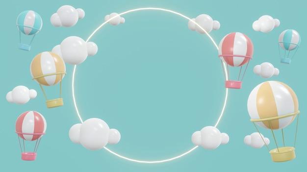 Концепция 3d-рендеринга пространства дисплея с воздушными шарами в небе с облаками и блестящим кольцом