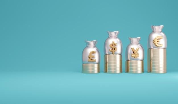 通貨記号ドルポンドユーロ元のマネーバッグによる法定通貨の3dレンダリングの概念