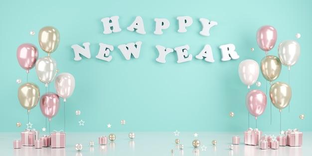 Концепция 3d-рендеринга текста с новым годом на стене с воздушными шарами и подарками в синей теме. 3d визуализация. 3d иллюстрации.