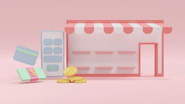 お金のアイコンが付いている空白の製品棚とミニオンラインショッピングストアフロントの3dレンダリングの概念