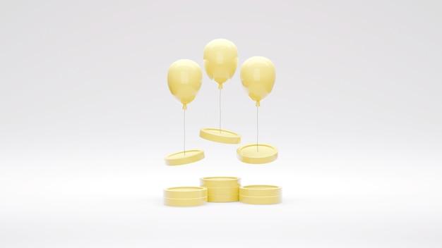 コインを空中に持ち上げる気球によるお金のインフレの3dレンダリングの概念