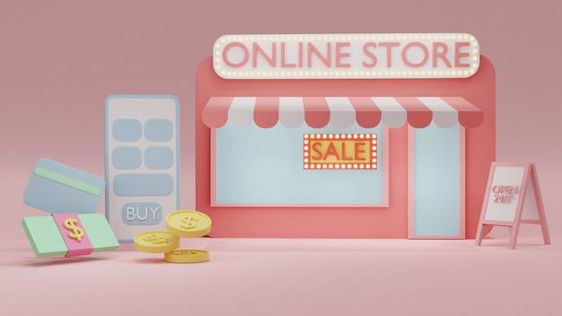온라인 상점과 화폐 현금으로 전화를 온라인 쇼핑하는 3d 렌더링 개념