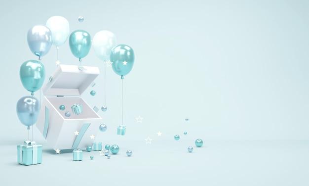 Концепция 3d-рендеринга открытой подарочной коробки, показывающая пространство внутри с небольшими подарками и геометрическими элементами, оформлена в синей теме для коммерческого дизайна. 3d визуализация иллюстрации.