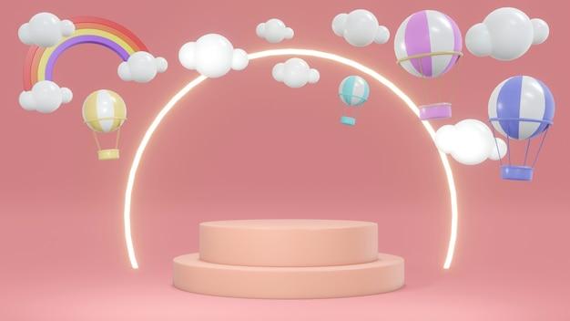 Концепция 3d-рендеринга розового подиума с воздушными шарами в небе и кольцевым светом