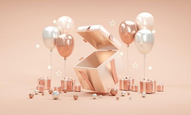 Концепция 3d-рендеринга подарочной коробки, открытая шоу, пустое пространство внутри с подарками, воздушными шарами, звездами