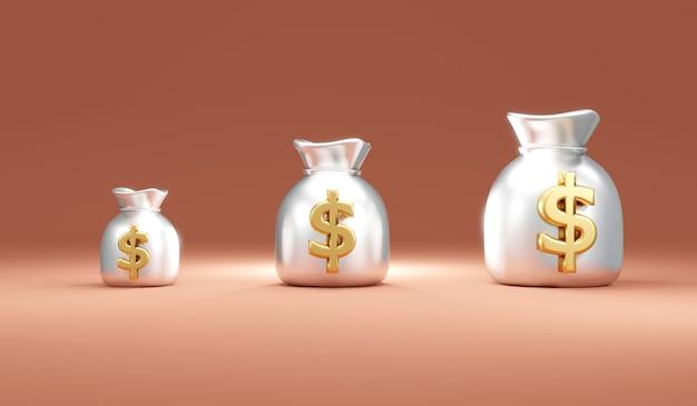 ドル記号付きのシルバーマネーバッグの3dレンダリングの概念は、背景に小さいものから大きいものへと配置されます