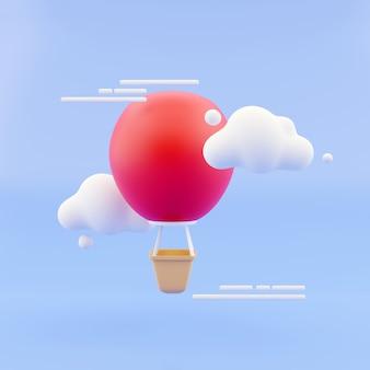 夏の雰囲気の3dレンダリングの概念。青い空を背景に雲の間にバスケットと黄色の熱気球。 3dレンダリング。