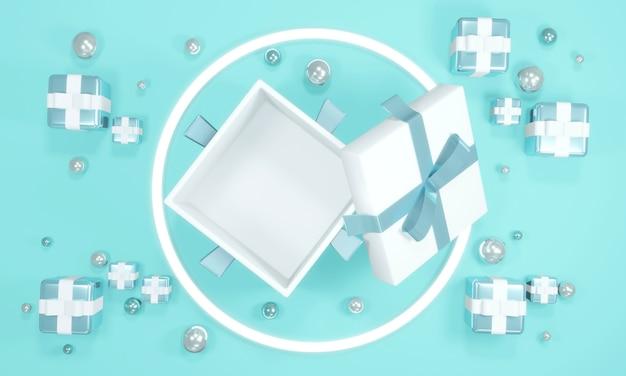 작은 선물과 기하학적 요소가 있는 빈 공간을 보여주는 열린 선물 상자의 위쪽 보기의 3d 렌더링 개념은 상업용 디자인을 위한 파란색 테마로 구성됩니다. 3d 렌더링 그림입니다.