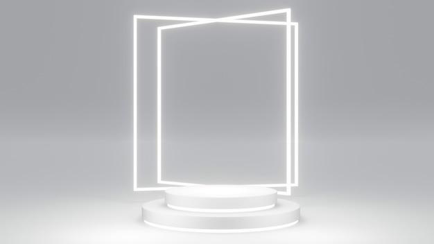空白の製品の白いテーマの3dレンダリングの概念は、商用テンプレートデザインの表彰台の構成ジオメトリ要素を表示します。 3dレンダリング。