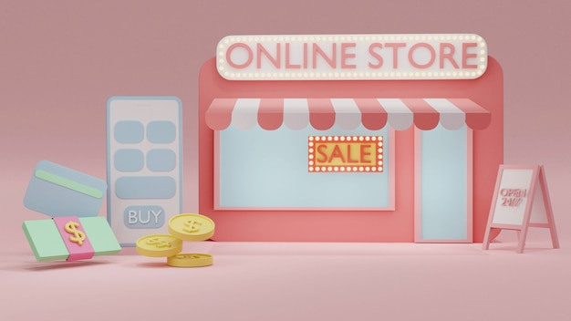 3d rendering concept of online shopping a phone with an online store and money coin cash