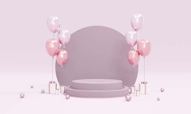 3d rendering concept of podium product display with balloons purple theme on background for commercial design. 3d render.