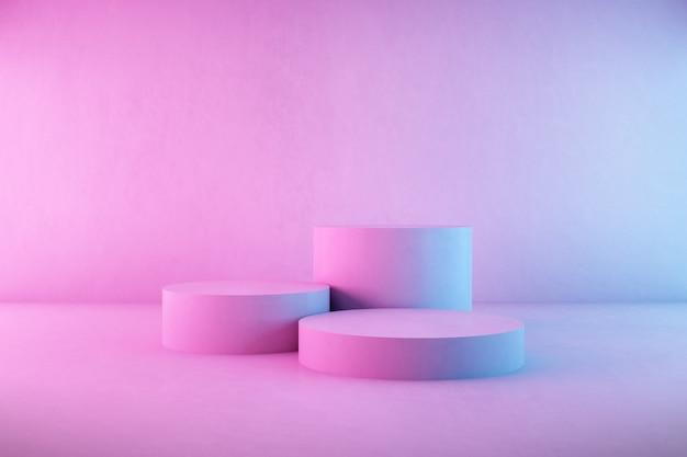 3d rendering of concrete podium on neon light background.