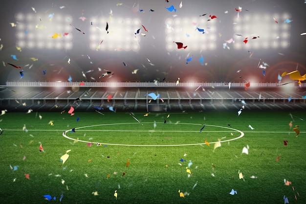 3d рендеринг празднования конфетти с фоном футбольного поля