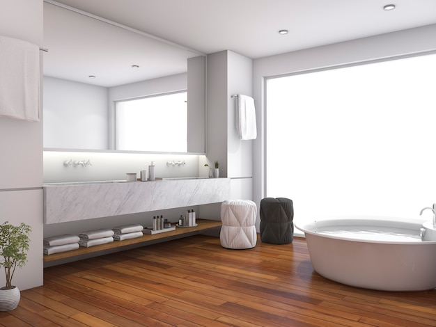 3d rendering of contemporary wood bathroom near window