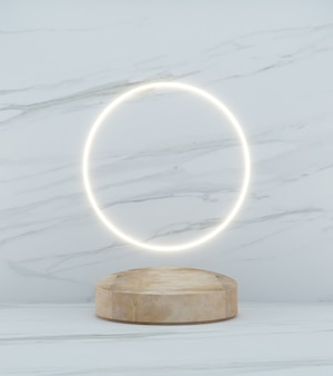 3d rendering copper podium on white marble background and circle light line