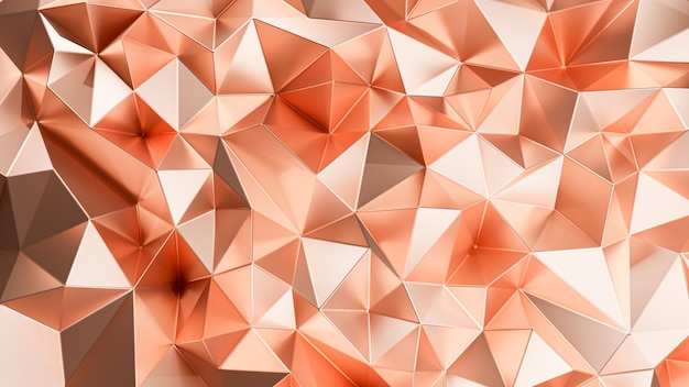 3d rendering. copper triangular abstract.