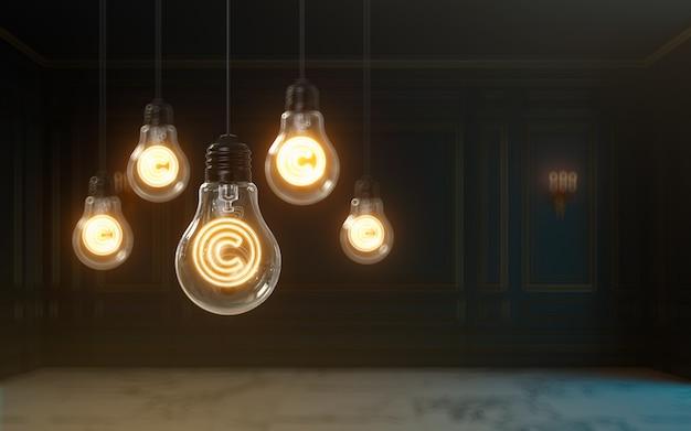 3dレンダリング著作権アイコンが電球プレミアムカバー写真の背景の中で光る