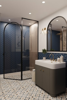 3d rendering. corner of hotel bathroom with blue tiled walls. classic style.