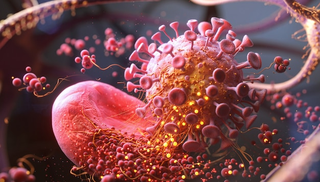 3d rendering of coronavirus or bacteria infection