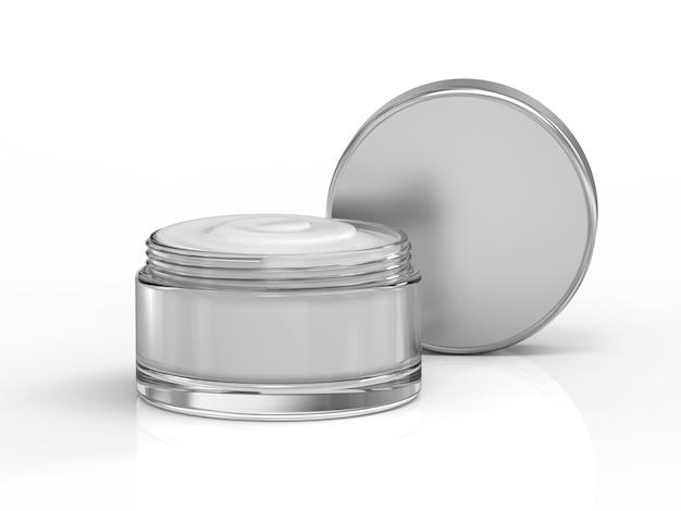 3d rendering cosmetic cream in open pot
