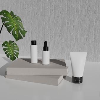 3d 렌더링 화장품 모형. 제품 전시를 위해 연단으로 장면을 모의하십시오. 벽 배경 및 식물