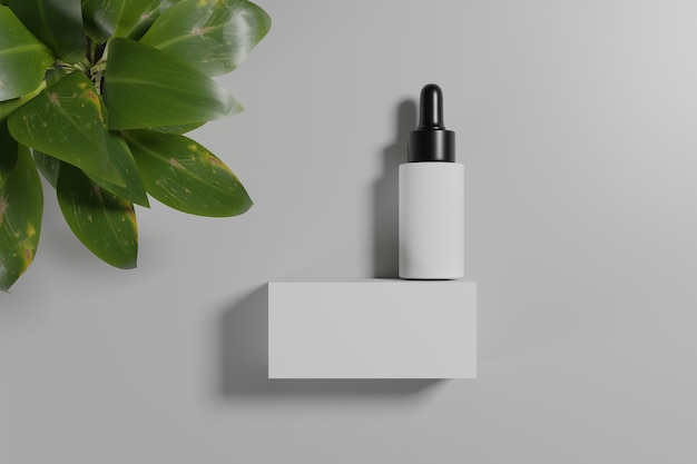 3d 렌더링 화장품 모형. 제품 전시를 위해 연단으로 장면을 모의하십시오. 흰색 배경 및 식물