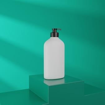 3d 렌더링 화장품 모형. 제품 전시용 연단으로 장면을 모의