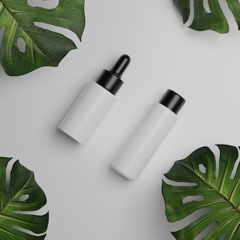 3d rendering cosmetic mockups . mock up scene with podium for product display. white background and plant