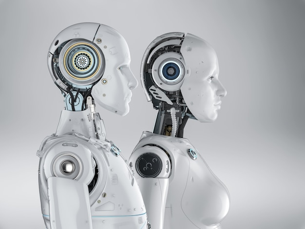 3d рендеринг пара киборгов или роботов мужского и женского пола
