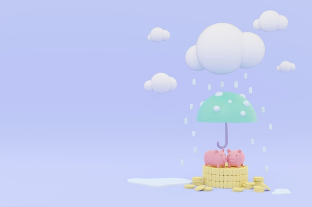 3d визуализация пара копилка на стопке монет под зонтиком концепции страхования денег