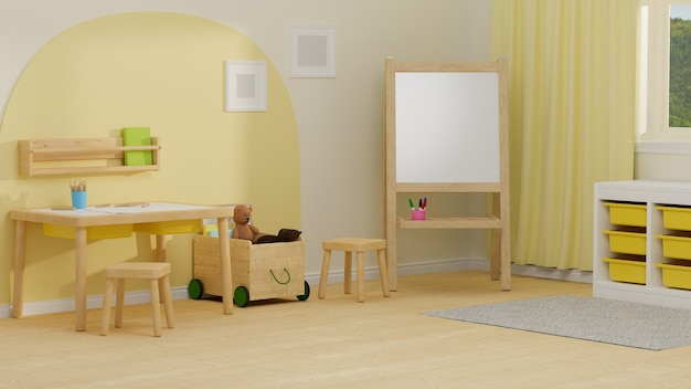 3d rendering cozy children room interior design with study table white board playthings shelves and decorations