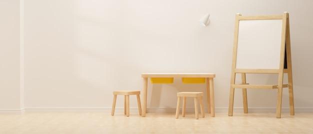 3d-рендеринг дизайна интерьера уютной детской комнаты со стульями для учебы и белой доской на белом фоне стены