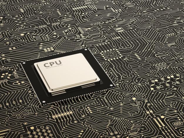 회로 기판 배경에 3d 렌더링 cpu 칩