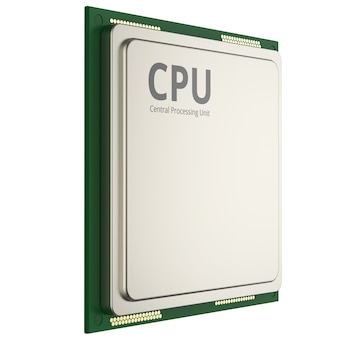 3d 렌더링 cpu 칩 또는 마이크로칩 화이트 절연
